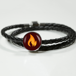 LiVit BOLD Orange Flame Woven Leather Charm Bracelet - LiVit BOLD