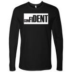 CONFIDENT Front and Back Print Men's Long Sleeve Top - 6 Colors- LiVit BOLD - LiVit BOLD