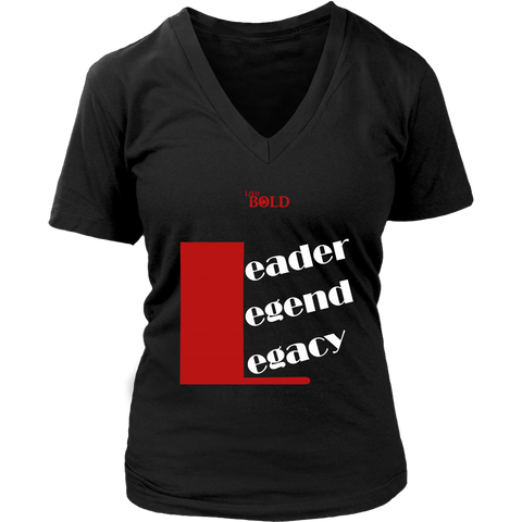 Leader.Legend.Legacy Women's V-Neck Top - 5 Colors - LiVit BOLD - LiVit BOLD
