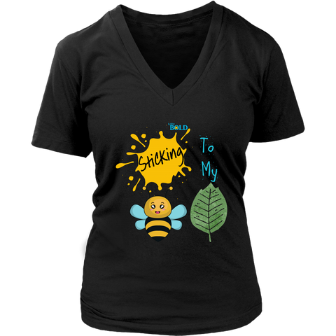 Sticking To My (Bee-Leaf) Belief - Women's V-Neck T-Shirt - LiVit BOLD - 8 Colors - LiVit BOLD