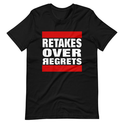 Retakes Over Regrets Short-Sleeve Unisex T-Shirt - Black