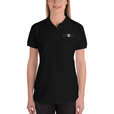 VSNINBLK Embroidered Women's Polo Shirt - Black - LiVit BOLD