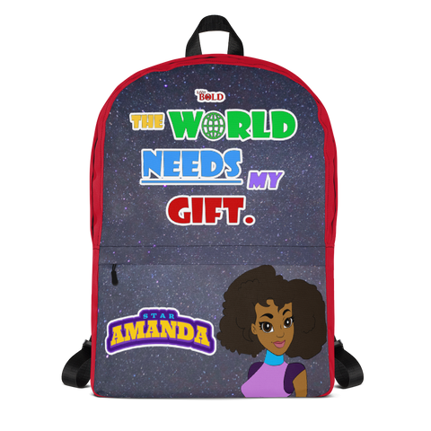 STAR AMANDA - THE WORLD NEEDS MY GIFT BACKPACK - Red Color