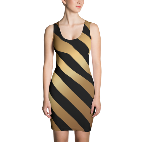 Black and Gold Stripes Sublimation Cut & Sew Dress - LiVit BOLD - LiVit BOLD