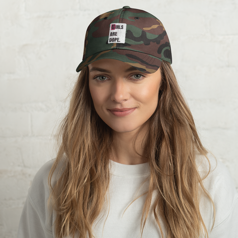 Girls Are Dope -  White Box Logo Camo Cap - LiVit BOLD