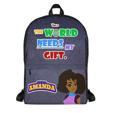 STAR AMANDA - THE WORLD NEEDS MY GIFT BACKPACK - Black With Stripes