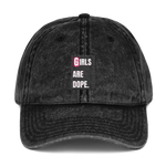 Girls Are Dope Black Box Logo Vintage Cotton Twill Cap - Black Color - LiVit BOLD