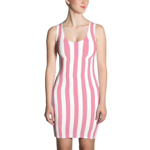 Pink and White Stripes Sublimation Cut & Sew Dress - LiVit BOLD