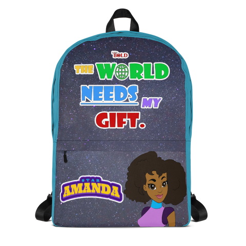 STAR AMANDA - THE WORLD NEEDS MY GIFT BACKPACK - Aqua Color