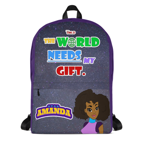 STAR AMANDA - THE WORLD NEEDS MY GIFT BACKPACK - Purple Color