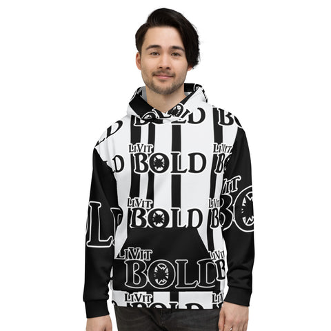 LiVit BOLD Black and White Stripes - Half and Half Multiple Logo Unisex Hoodie
