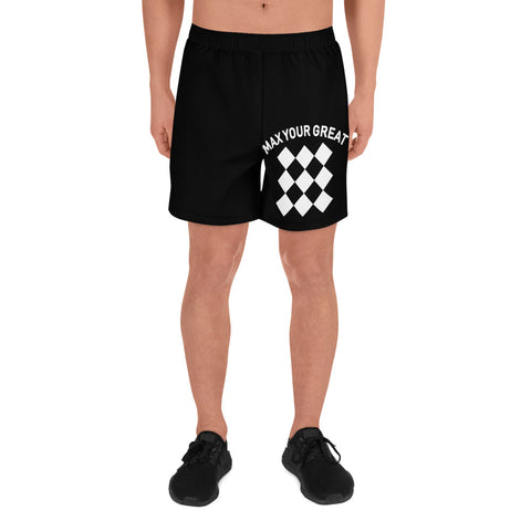 Max Your Great Men's Athletic Long Shorts - Front and Back Print - LiVit BOLD