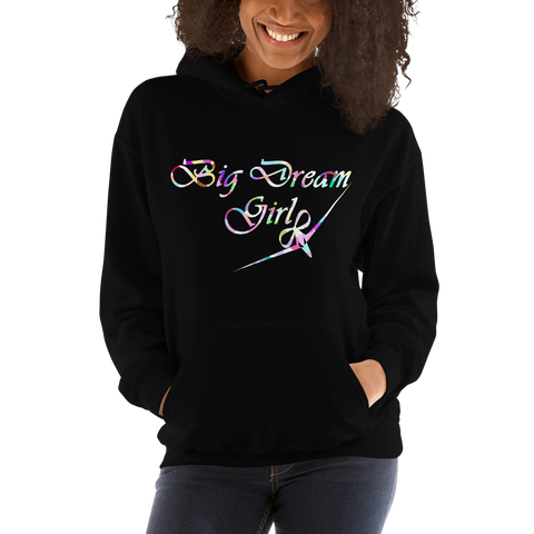 BIG DREAM GIRL - RIBBON BOW PLANE DESIGN - HOODED SWEATSHIRT - 4 COLORS - LiVit BOLD
