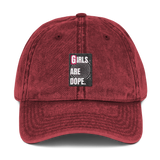 Girls Are Dope It's A Swirly World Vintage Cotton Twill Cap - Black, Navy & Maroon Colors - LiVit BOLD