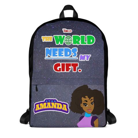 STAR AMANDA - THE WORLD NEEDS MY GIFT BACKPACK -Black Color