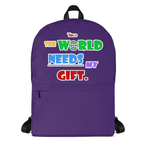 THE WORLD NEEDS MY GIFT BACKPACK - Purple