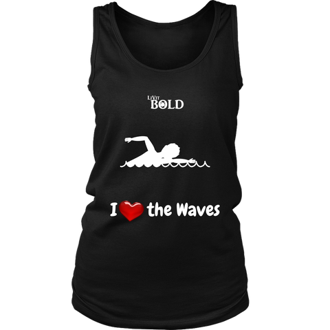 LiVit BOLD District Women's Tank - I Heart the Waves - Swimming - LiVit BOLD