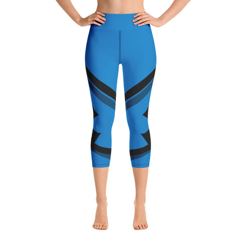Winged Yoga Capri Leggings - Blue