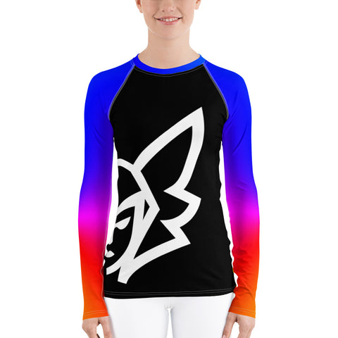 Rainbow Curvy Rash Guard - Black