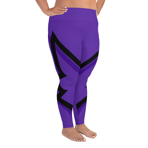 Winged Plus Size Leggings - Royal Purple