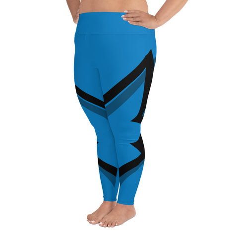 Winged Plus Size Leggings - Blue
