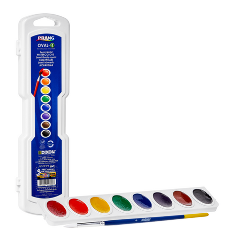 Prang Oval Watercolor Set - 8 Color with Brush