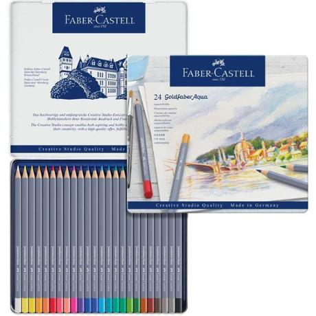 Faber-Castell Goldfaber  Aqua Pencil 24 Color Set in Metal Tin