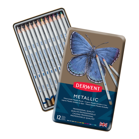 Derwent Metallic Pencils - Set of 12 in metal tin