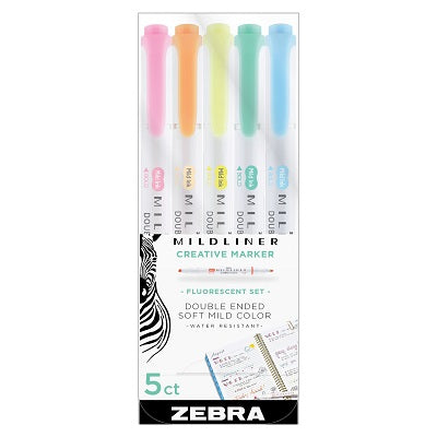 Zebra Mildliner Brush Pen -  5 Fluorescent Colors Set