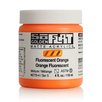 Golden SoFlat Matte Acrylic Paint - Fluorescent Orange 4 oz jar