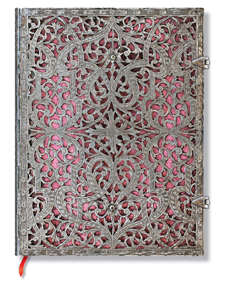 "Paperblanks Journal Silver Filigree - Blush Pink Ultra Lined 7"" X 9"", 240 pages"