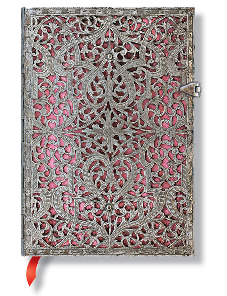 "Paperblanks Journal - Silver Filigree Blush Pink Midi Lined 5"" X 7"