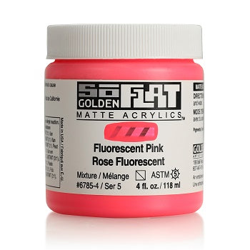 Golden SoFlat Matte Acrylic Paint - Fluorescent Pink 4 oz jar
