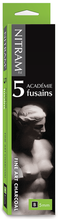 Nitram Academie Fusains Charcoal 5mm B (soft) - 5 Square Sticks