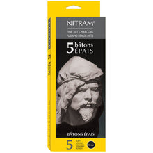 Nitram Beaux-Arts Fine Art Charcoal Soft Round 12 mm - 5 Sticks
