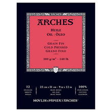 "ARCHES Oil Cold Pressed White 140 lb 300 gsm 9"" X 12"" Pad (12 Sheets)"