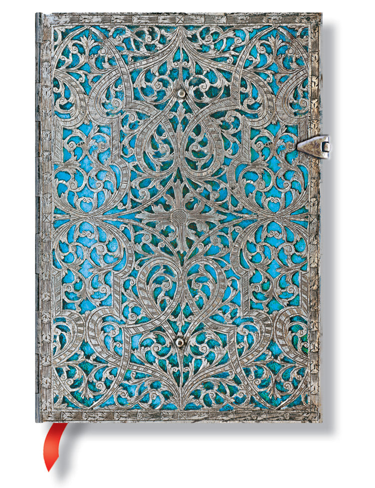 "Paperblanks Journal Silver Filigree: Maya Blue Midi Lined 5"" X 7"", 240 pages"
