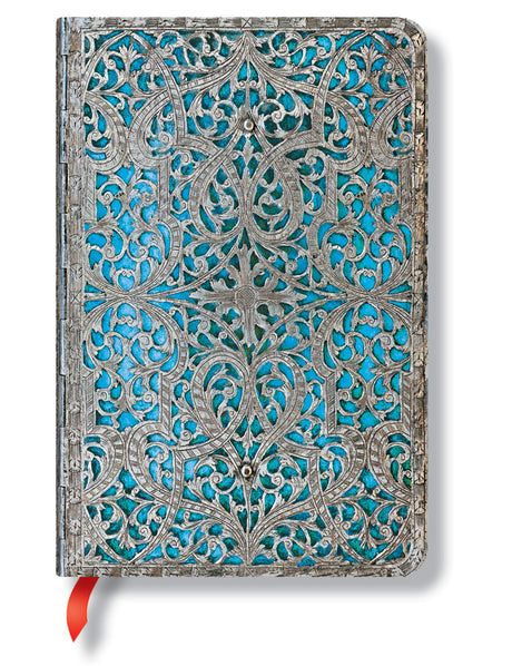 "Paperblanks Journal Silver Filigree: Maya Blue Classic Mini LINed 3.75"" X 5.5"", 176 pages"