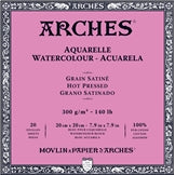 "ARCHES Watercolour Hot Pressed Natural White 140 lb 300 gsm 7.9"" x 7.9"" Block (20 Sheets)"