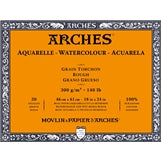 "ARCHES Watercolour Rough Natural White 140 lb 300 gsm 18"" x 24"" Block (20 Sheets)"