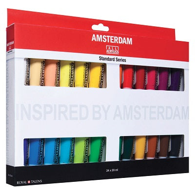 Amsterdam Standard Series Acrylic Paint Set of 24 Colors in 20ml tubes