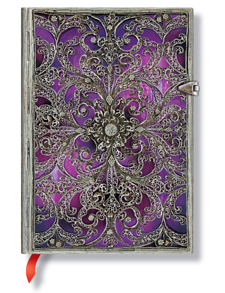 "Paperblanks Journal - Silver Filigree - Aubergine Midi Lined 5"" X 7"""