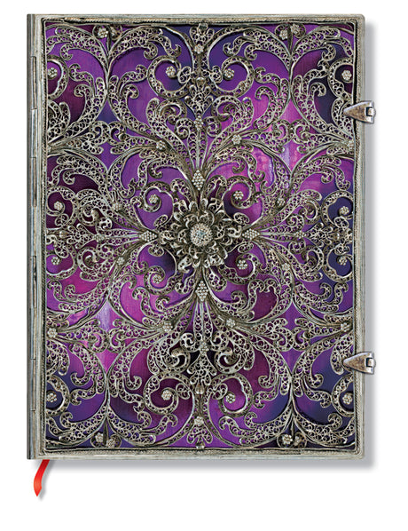 "Paperblanks Journal - Silver Filigree - Aubergine Ultra Lined 7"" X 9"""