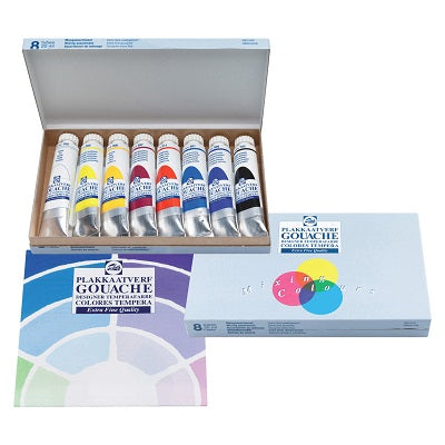 Talens Gouache Extra Fine Mixing Set of 8 Colors in 20ml Tubes