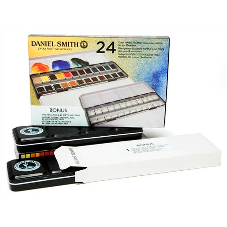 Daniel Smith 24 Color Hand Poured Half Pan Set in a METAL BOX with BONUS Metal Box and 24 Empty Half Pans