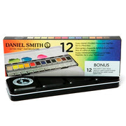 Daniel Smith 12 Color Hand Poured Half Pan Set in a METAL BOX with BONUS 12 Empty Half Pans
