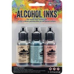 Tim Holtz Alcohol Ink Set of 3 - Lakeshore Set (Sandal,Aqua,Salmon)