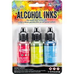 Tim Holtz Alcohol Ink Set of 3 - Dockside Picnic Set (Watermelon, Citrus, Sailboat)