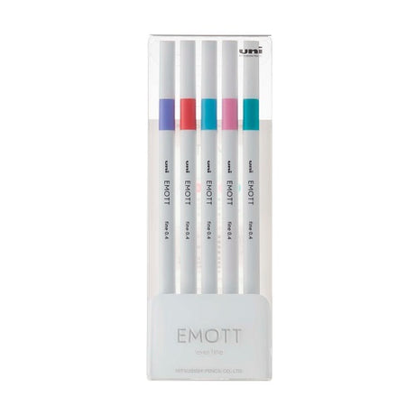 Uni Emott Ever Fine Pen 0.4mm -  5 Pen Set 5