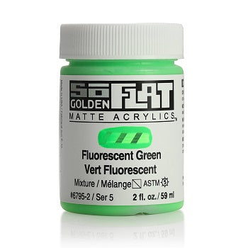 Golden SoFlat Matte Acrylic Paint - Fluorescent Green 2 oz jar